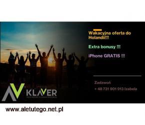 Praca na wakacje w Holandii - Extra bonusy plus iPhone GRATIS
